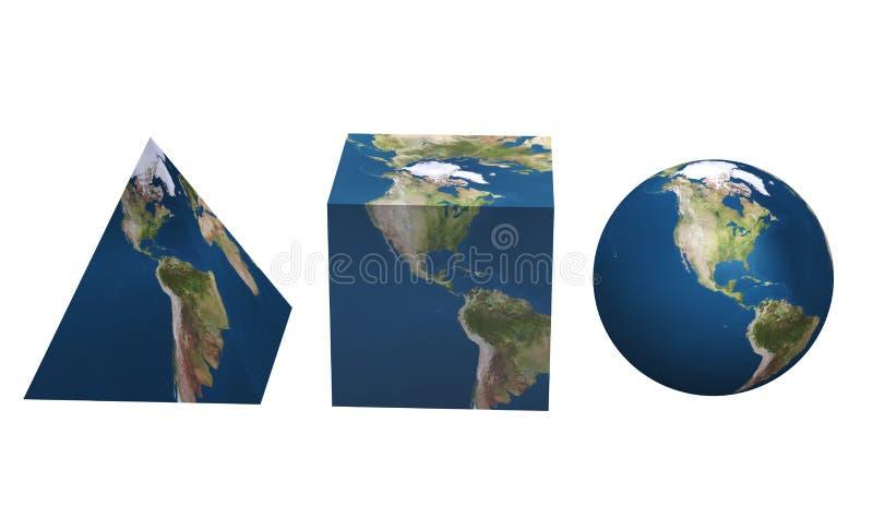 Fije el planeta la varia forma geométrica de la tierra ilustración del vector