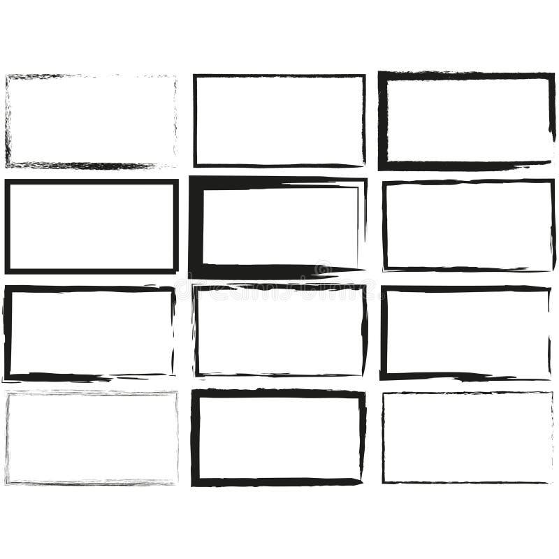 Fije el rectángulo dibujado mano, objetos del rotulador Cuadro de texto y marcos ilustración del vector