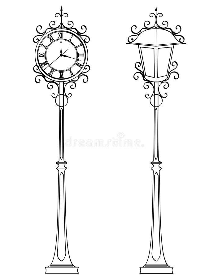 Fije el reloj de bronce de la calle del vintage con números árabes y la lámpara Libro de colorear del objeto conceptual stock de ilustración