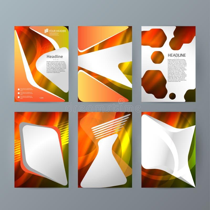Fije el resplandor caliente effect03 de la maqueta vertical del folleto de las plantillas ilustración del vector