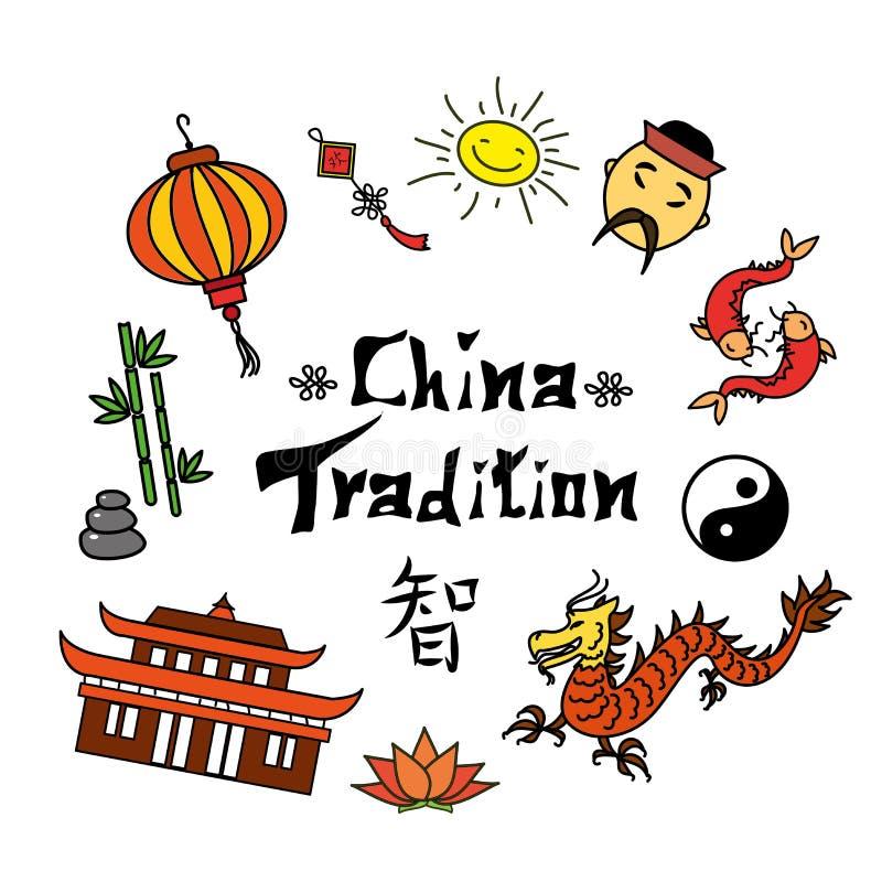 Fije el símbolo y el jeroglífico de China stock de ilustración