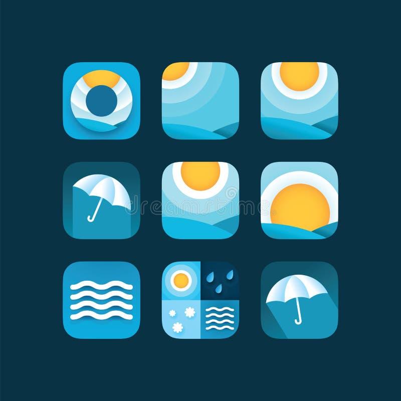 Fije el sol de los iconos del tiempo en cielo, gotas de lluvia, nieve y paraguas Tiempo y meteorología planos del vector para el  stock de ilustración