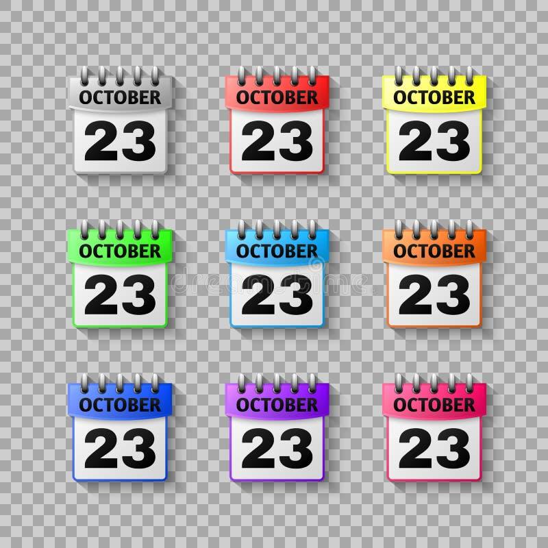 Fije el vector del icono del calendario aislado en fondo transparente Calendario del símbolo para su diseño del sitio web ilustración del vector