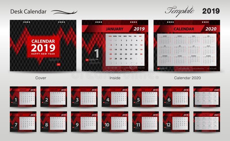 Fije el vector 2019, diseño del diseño de la plantilla del calendario de escritorio de la cubierta, sistema de 12 meses, comienzo stock de ilustración