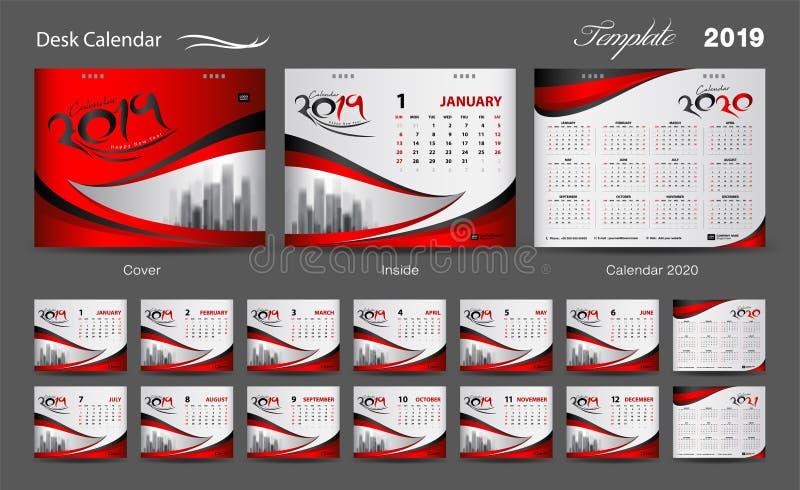 Fije el vector 2019, diseño del diseño de la plantilla del calendario de escritorio de la cubierta, sistema de 12 meses, comienzo ilustración del vector