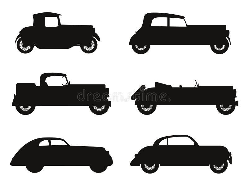 Fije el viejo ejemplo retro del vector de la silueta del negro del coche de los iconos ilustración del vector
