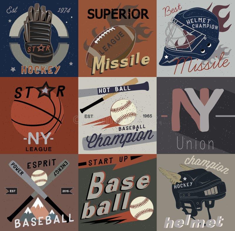 Fije el vintage de los logotipos del vector de los deportes, de las etiquetas y de los elementos del diseño ilustración del vector