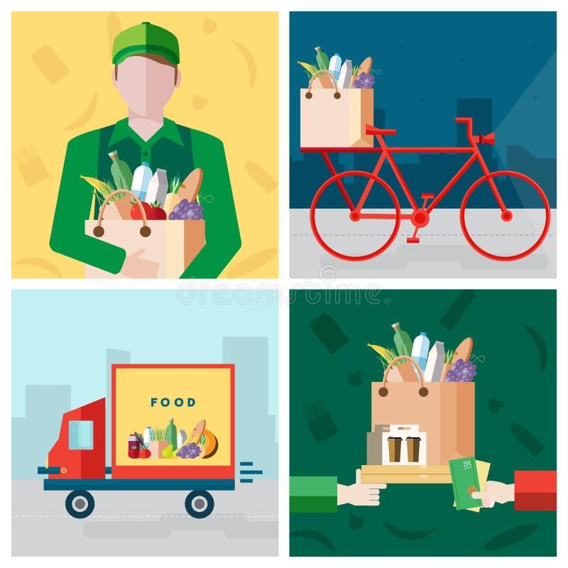 Fije en tema de la comida de la entrega Mensajero, bicicleta, pago para una compra Colección colorida de los ejemplos del vector  stock de ilustración
