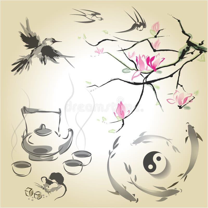 Fije en un estilo japonés del sumi-e libre illustration