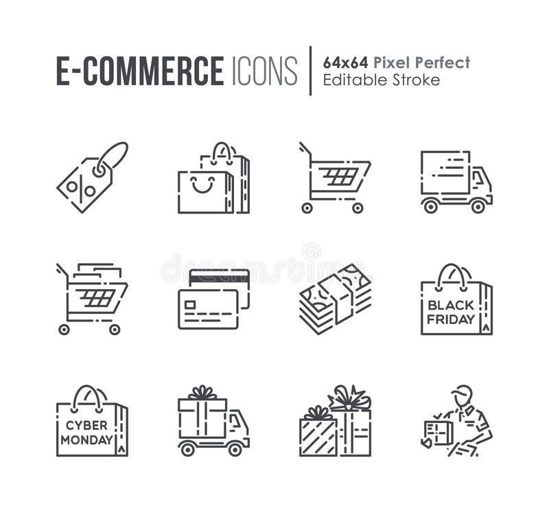 Fije línea iconos del vector del comercio electrónico y de las compras libre illustration