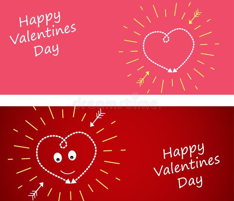 Fije la bandera con el corazón en un fondo rojo oscuro y rosado amarillo libre illustration