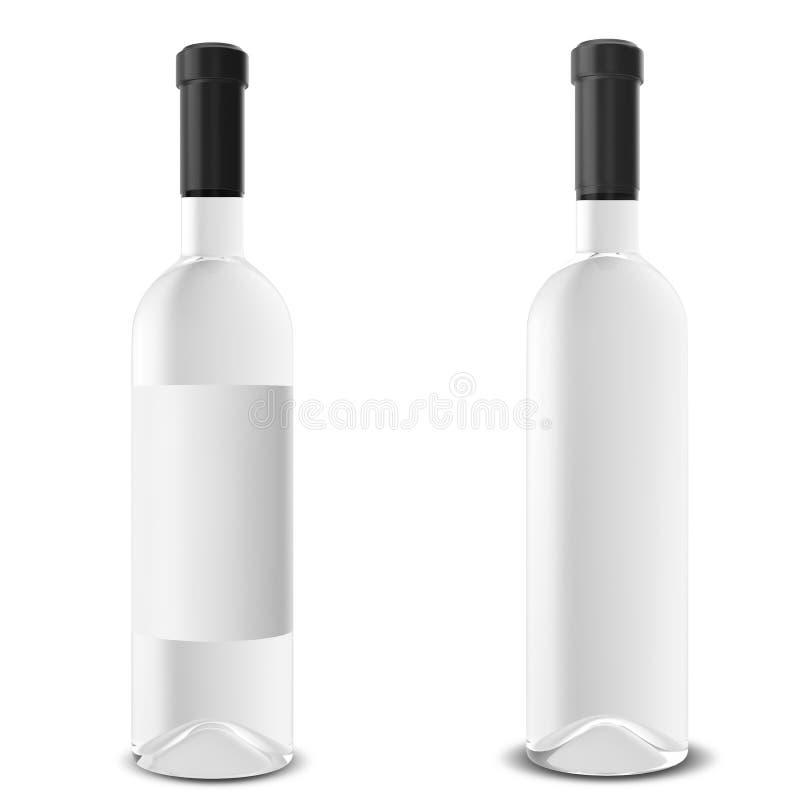Fije la botella de vino aislada en el fondo blanco libre illustration