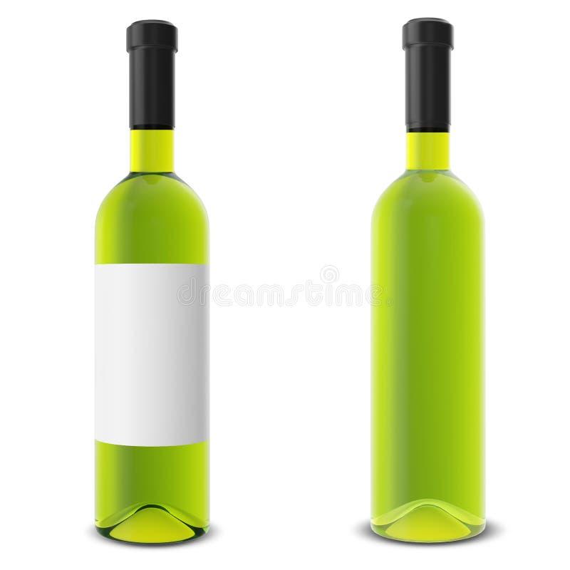 Fije la botella de vino aislada en el fondo blanco ilustración del vector