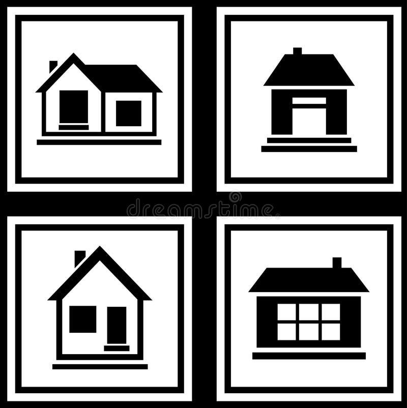 Fije la casa en el icono blanco de los fondos stock de ilustración