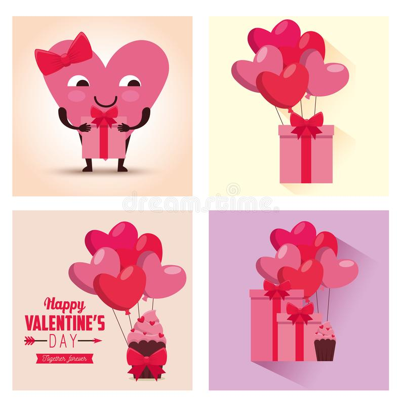 Fije la celebración del día de San Valentín con los globos y los regalos de los corazones libre illustration