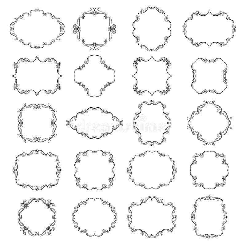 Fije la colección de bastidores ornamentales en blanco vacíos del vintage en color negro libre illustration