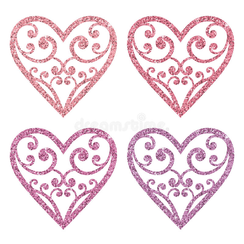 Fije la colección de corazones rosados ornamentales del brillo en un fondo blanco ilustración del vector