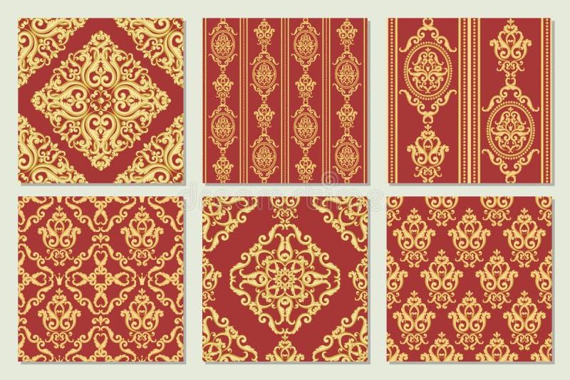 Fije la colección de modelo inconsútil del damasco Oro y textura roja libre illustration