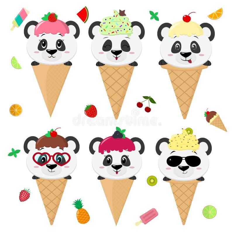 Fije la colección de seis pandas lindas en la imagen del helado Un helado que hiela con una baya, en un estilo de la historieta,  ilustración del vector