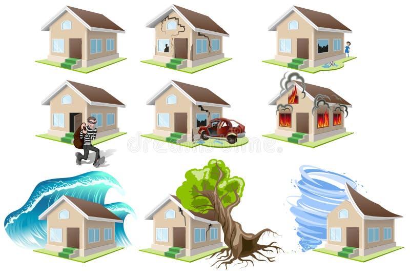Fije la desgracia de los hogares Seguro de la casa Propiedad insurance libre illustration