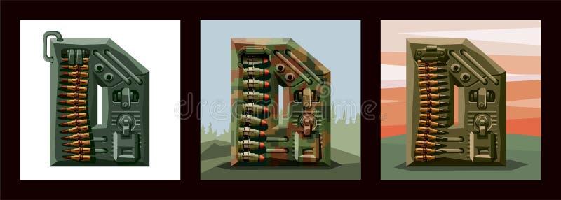 Fije la fuente militar del alfabeto de las letras D Imitación del vector de los viejos juegos del pixel, número limitado de color libre illustration