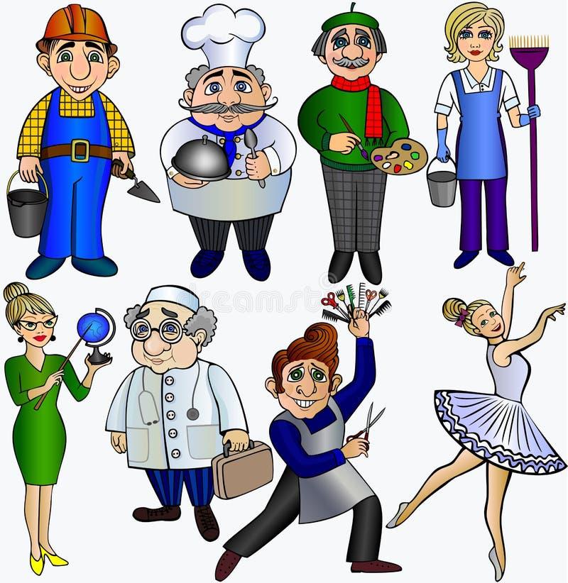 Fije a la gente de las profesiones Bailarín del doctor del artista de la bailarina del peluquero del cocinero del limpiador del c libre illustration