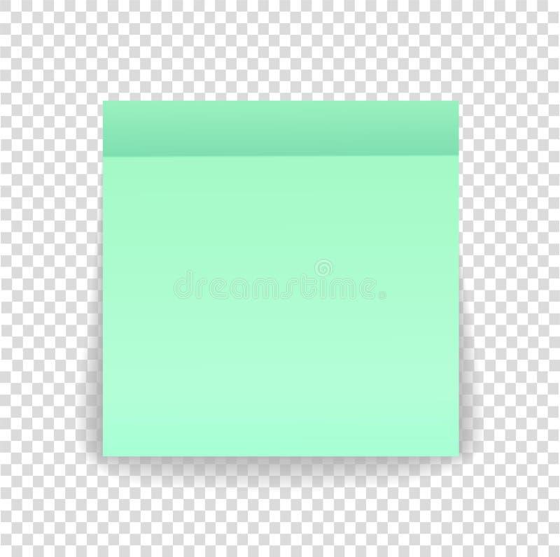 Fije la hoja del papel de nota o la etiqueta engomada pegajosa con la sombra aislada encendido libre illustration