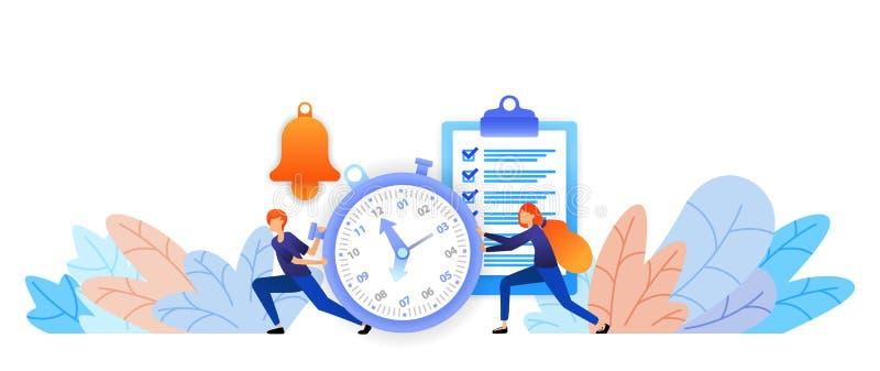 Fije la hora y los horario se han planeado que gestión de tiempo a los logros charla mecanografiando Ejemplo plano o del vector libre illustration
