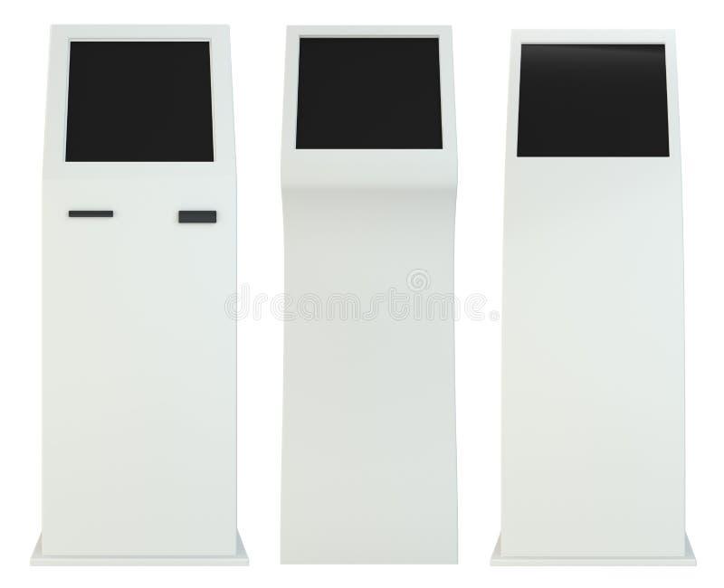 Fije la información terminal quiosco interactivo en el fondo blanco Aislado en el fondo blanco representación 3d stock de ilustración