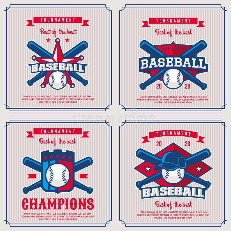Fije la insignia del béisbol, logotipo, torneo del emblema en pocilga retra del vintage libre illustration