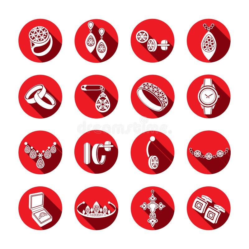 Fije la joyería de los iconos en vector Iconos planos blancos en un marco redondo rojo con una sombra ilustración del vector