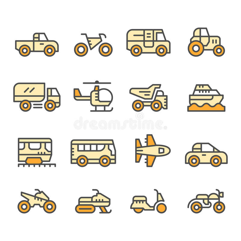Fije la línea de color iconos de transporte libre illustration