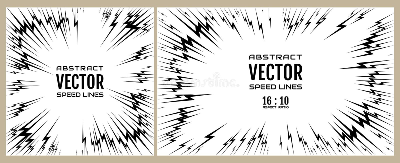 Fije la línea de la velocidad de relámpago negro en el fondo blanco Ejemplo festivo con la explosión del poder del efecto stock de ilustración