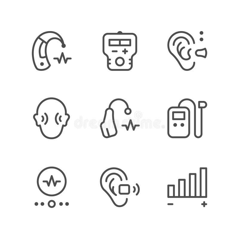 Fije la línea iconos de audífono ilustración del vector