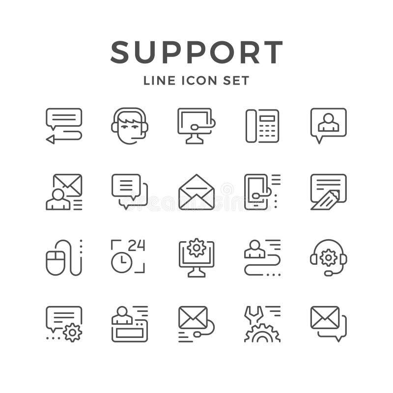 Fije la línea iconos de ayuda stock de ilustración