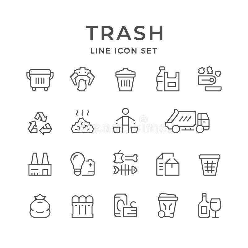 Fije la línea iconos de basura ilustración del vector