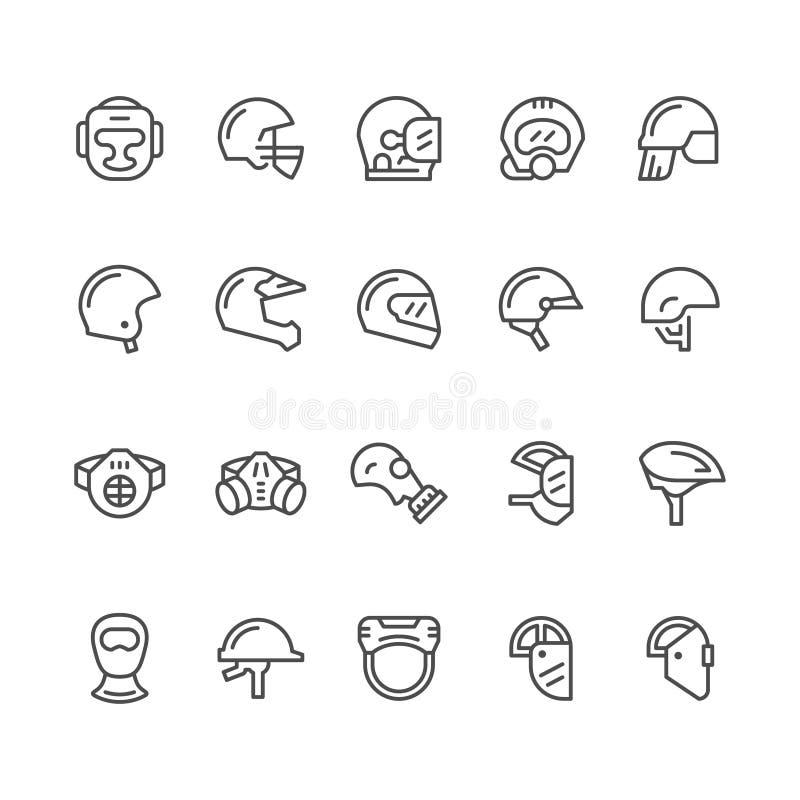 Fije la línea iconos de cascos y de máscaras ilustración del vector