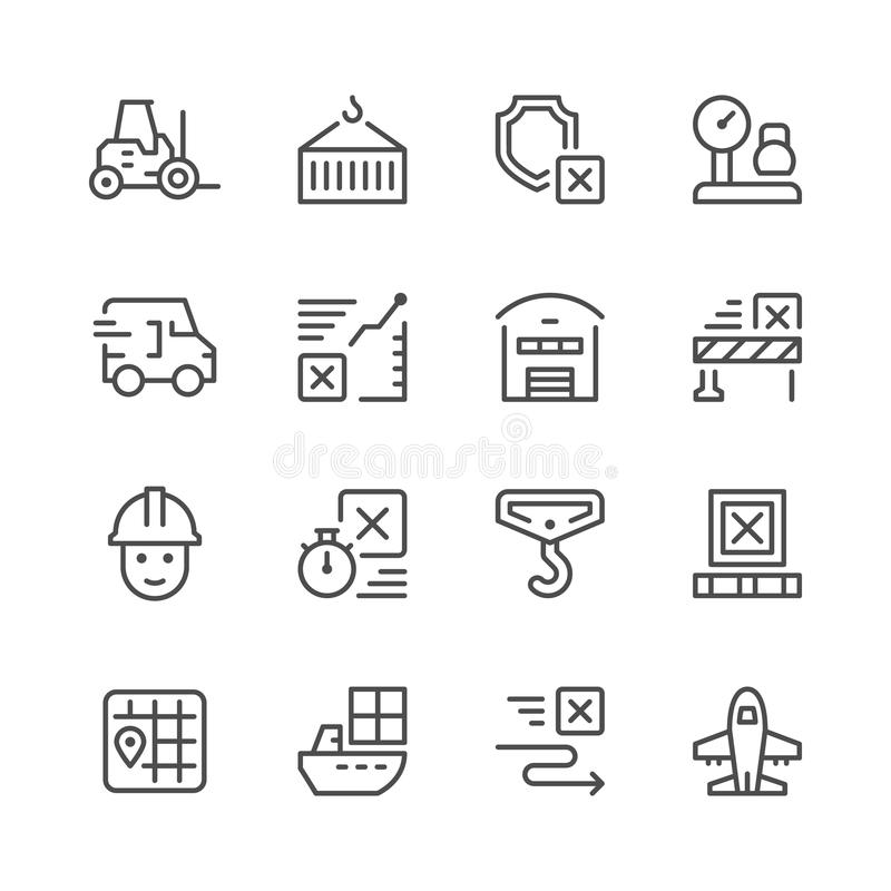 Fije la línea iconos de logística libre illustration