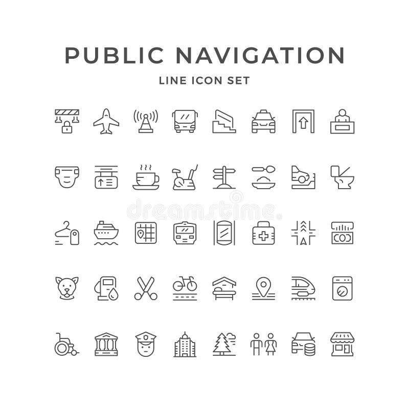 Fije la línea iconos de navegación pública ilustración del vector