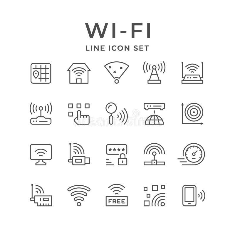 Fije la línea iconos de Wi-Fi ilustración del vector