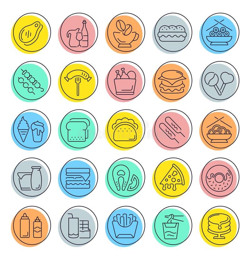Fije la línea iconos del vector de alimentos de preparación rápida libre illustration