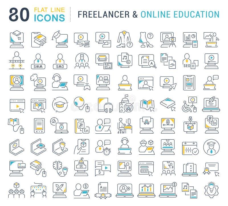 Fije la línea iconos del vector de Freelancer y de educación en línea stock de ilustración