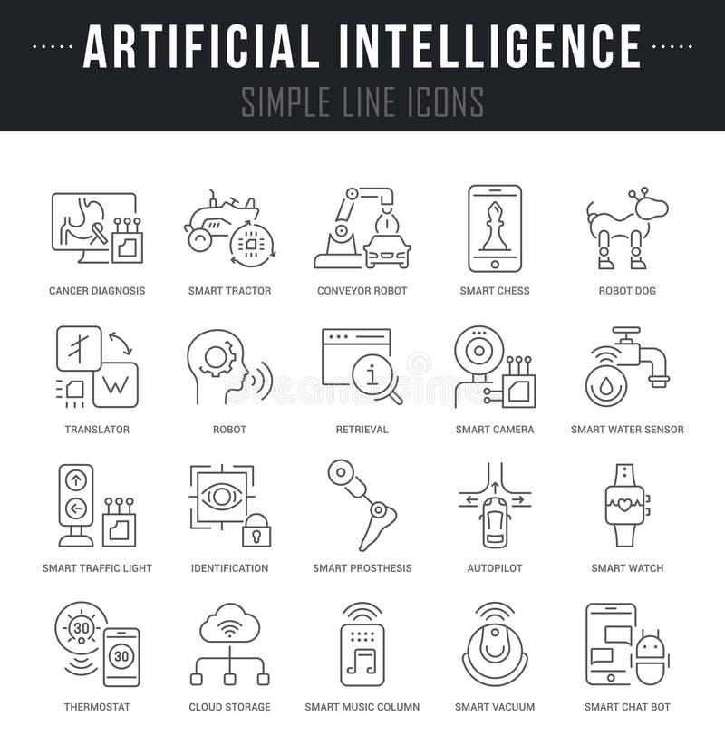 Fije la línea iconos del vector de inteligencia artificial stock de ilustración