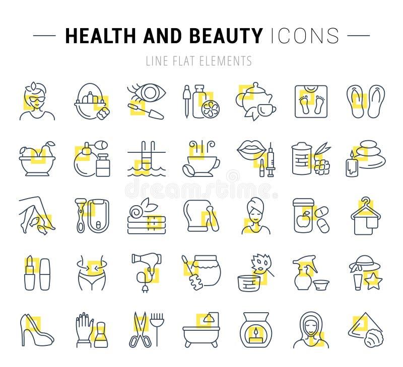 Fije la línea iconos del vector de salud y de belleza stock de ilustración