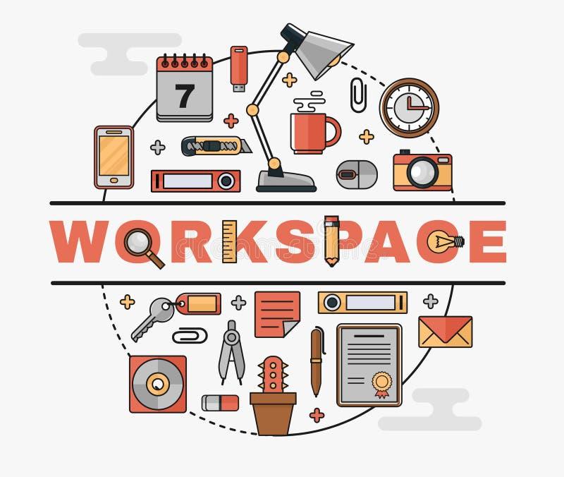 Fije la línea iconos planos del arte del lugar de trabajo personal ilustración del vector