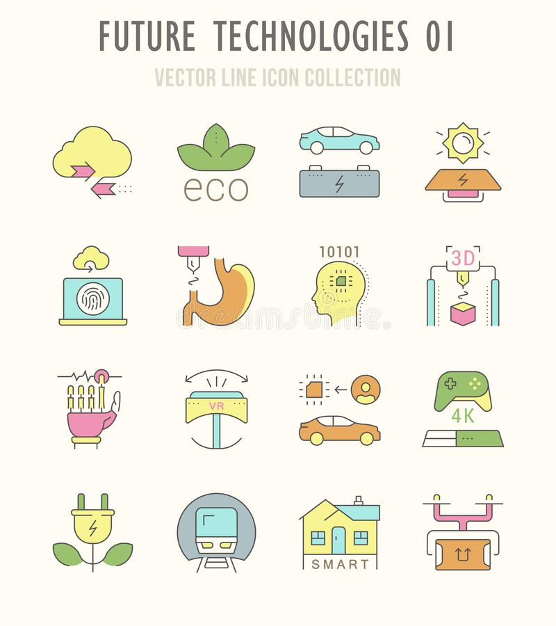 Fije la línea iconos planos retros del vector de las tecnologías futuras ilustración del vector