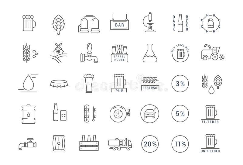 Fije la línea plana cerveza del vector de los iconos ilustración del vector