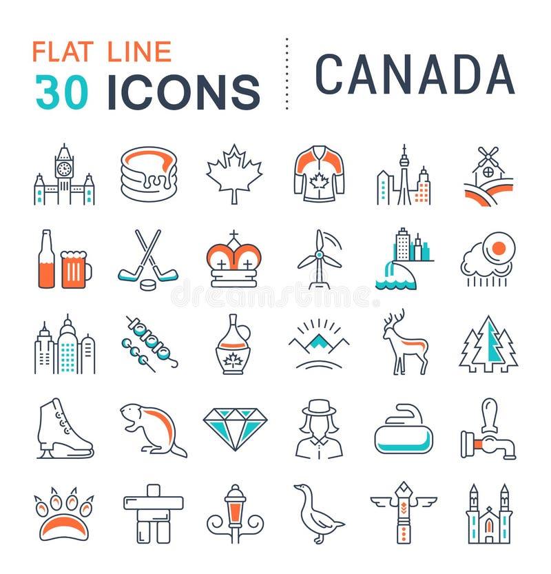 Fije la línea plana iconos Canadá del vector ilustración del vector