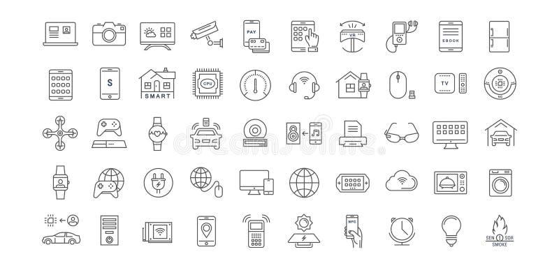 Fije la línea plana Internet del vector de los iconos de cosas libre illustration