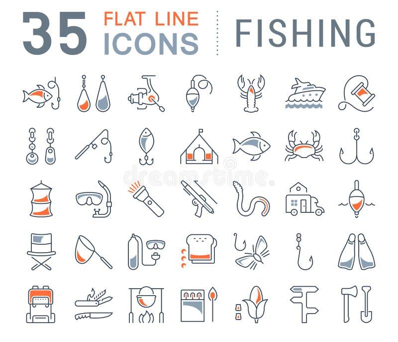 Fije la línea plana pesca del vector de los iconos ilustración del vector